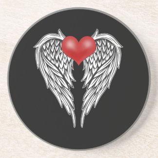 Dessous De Verre En Grès Tatouage de coeur d'ange