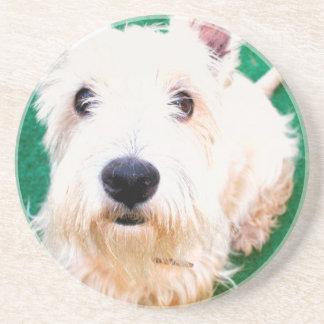 Dessous De Verre En Grès Terrier blanc