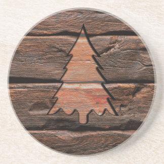 Dessous De Verre En Grès Texture à feuillage persistant gravée par bois