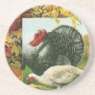 Dessous De Verre En Grès Thanksgiving vintage, couleurs sauvages d'automne