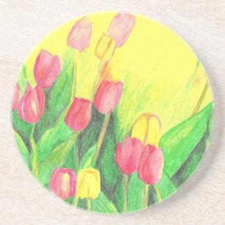 Dessous De Verre En Grès Tulipes roses et jaunes