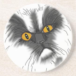 Dessous De Verre En Grès Un chat grincheux