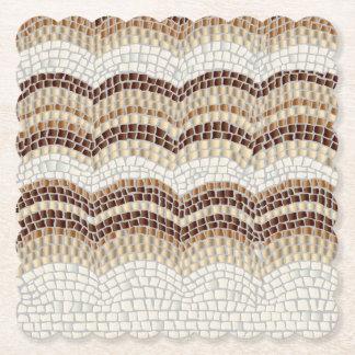 Dessous-de-verre En Papier Dessous de verre carrés crantés par mosaïque beige