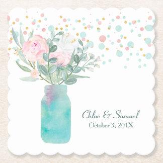 Dessous-de-verre En Papier Mariage en pastel de pot de maçon de confettis