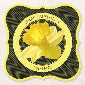 Dessous-de-verre En Papier Personnalisez :  Jonquille florale de jaune de