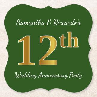 Dessous-de-verre En Papier Vert, fête d'anniversaire de mariage d'or de Faux