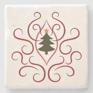 Dessous-de-verre En Pierre Arbre de Noël de pays avec des remous