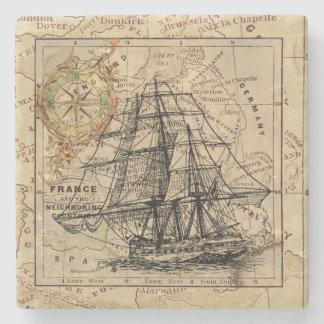 Dessous-de-verre En Pierre Bateau vintage et carte