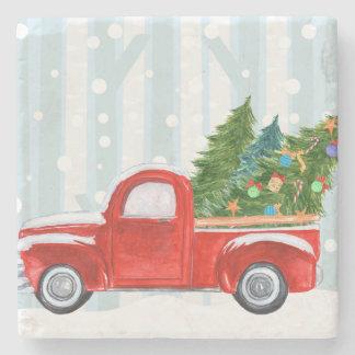 Dessous-de-verre En Pierre Camion pick-up rouge de Noël sur une route de