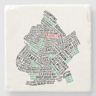 Dessous-de-verre En Pierre Carte de typographie de Brooklyn New York City