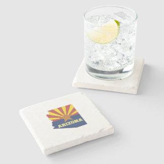 Dessous-de-verre En Pierre Carte et drapeau d'état de l'Arizona