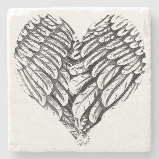Dessous-de-verre En Pierre Coeur, ailes d'ange, dessous de verre spirituels