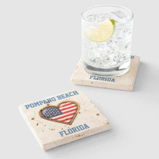 Dessous-de-verre En Pierre Coeur américain customisé avec votre ville et état