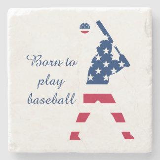 Dessous-de-verre En Pierre Drapeau d'Américain de base-ball de l'Amérique