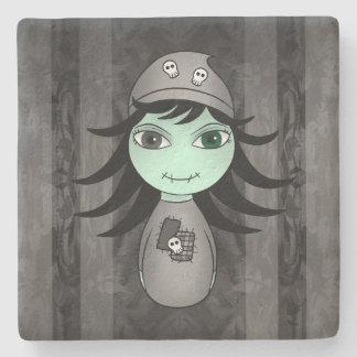 Dessous-de-verre En Pierre Fille de zombi de Halloween
