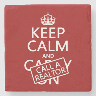 Dessous-de-verre En Pierre Gardez le calme et appelez un agent immobilier