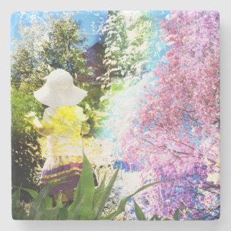 Dessous-de-verre En Pierre Jaune bleu de fleur de rose de collage de nature
