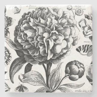 Dessous-de-verre En Pierre Le cru fleurit gravure à l'eau-forte