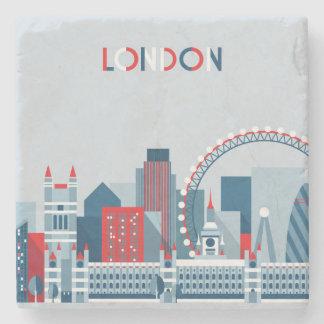 Dessous-de-verre En Pierre Londres, Angleterre horizon rouge, blanc et bleu