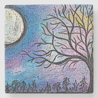 Dessous-de-verre En Pierre Lune superbe et paysage d'arbre