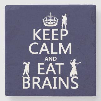 Dessous-de-verre En Pierre Maintenez calme et mangez les cerveaux (zombis)