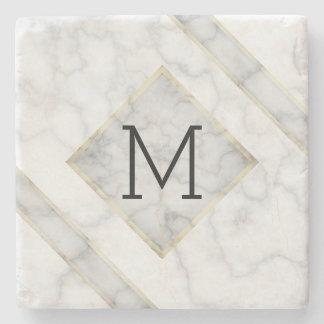 Dessous-de-verre En Pierre Marbre blanc de Faux et albâtre beige avec le