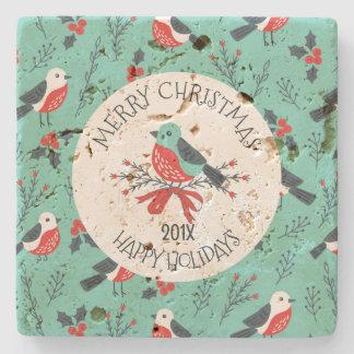 Dessous-de-verre En Pierre Modèle personnalisable de motif d'oiseaux de Noël