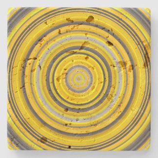 Dessous-de-verre En Pierre Motif circulaire jaune et gris