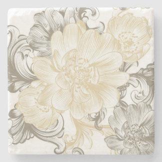 Dessous-de-verre En Pierre Motif floral beige victorien vintage de vignes