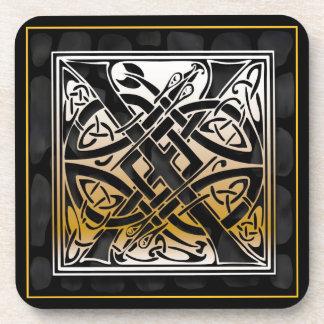 Dessous de verre en pierre noirs celtiques de sous-bocks