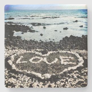 Dessous-de-verre En Pierre Plage de sable d'Hawaï et photo noires de coeur de