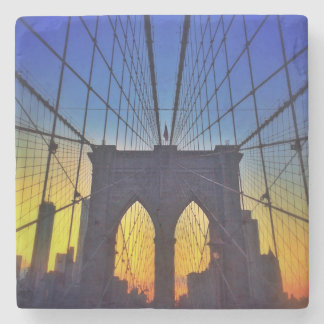 Dessous-de-verre En Pierre Pont de Brooklyn au coucher du soleil