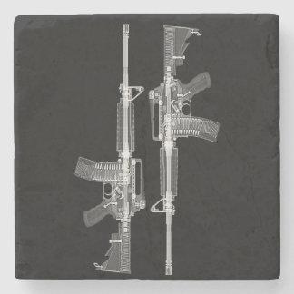 Dessous-de-verre En Pierre Rayon X du fusil AR-15 de vraie arme à feu
