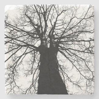 Dessous-de-verre En Pierre Silhouette noire et blanche d'arbre