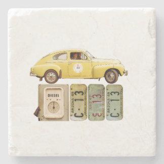 Dessous-de-verre En Pierre Voiture vintage jaune