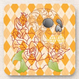 Dessous-de-verre Ensemble de rétro crâne à motifs de losanges jaune