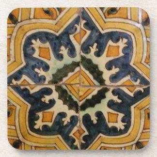 Dessous-de-verre Étoile vintage turque de jaune de carreau de
