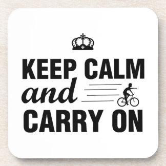 Dessous-de-verre Gardez le calme et continuez pour des cyclistes