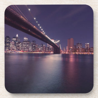 Dessous-de-verre Horizon de nuit de pont de New York City Brooklyn