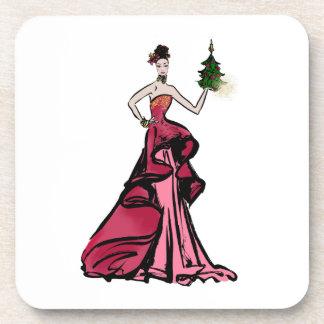 Dessous-de-verre Illustration de mode de Noël avec l'arbre