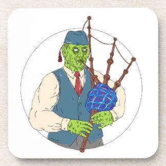 Dessous-de-verre Joueur de pipeau de zombi jouant l'art de crasse