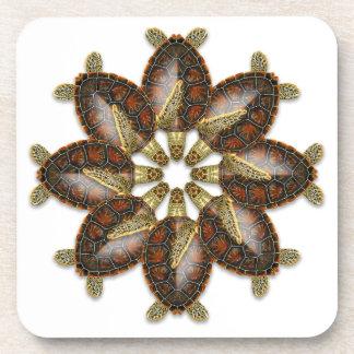 Dessous de verre kaléïdoscopiques de tortue verte