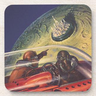 Dessous-de-verre La science-fiction vintage, ville futuriste sur la