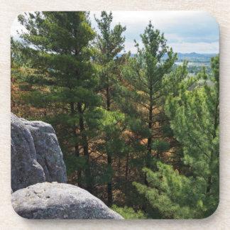 Dessous-de-verre La vallée de forêt donnent sur au monticule de