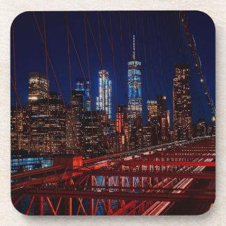 Dessous-de-verre Lumières de nuit de New York City de pont de