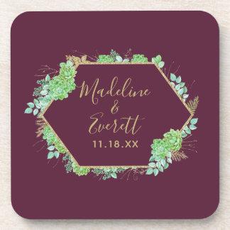 Dessous-de-verre Monogramme vert de mariage de cadre d'or de