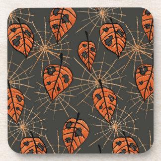 Dessous-de-verre Motif orange de Halloween de toiles d'araignée de