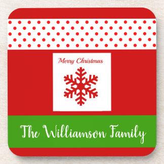 Dessous-de-verre Neige d'hiver de Noël de nom de famille/ensemble