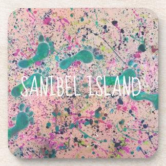 Dessous-de-verre Pas dans la peinture de sable - île de Sanibel