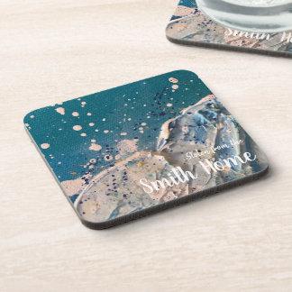 Dessous-de-verre Peinture abstraite de beaux-arts de vague de plage